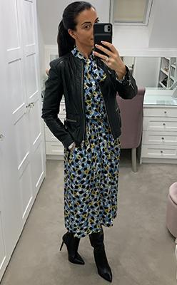 McElhinneys---Birelin-Floral-Print-Pussybow-Midi-Dress,-Blue