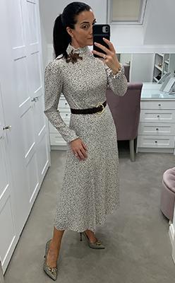 McElhinneys---Exquise-Speckle-Print-High-Neck-Midi-Dress,-Cream