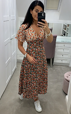 McElhinneys-Seventy1-Floral-V-Neck-Midi-Dress,-Multi-Coloured