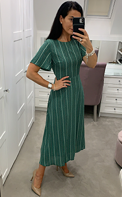 McElhinneys-Seventy1-Printed-A-Line-Midi-Dress,-Green