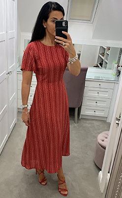McElhinneys-Seventy1-Printed-A-Line-Midi-Dress,-Red