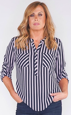 Pamela-Scott-TWIST-SATIN-STRIPE-SOFT-V-NECK-ROLL-UP-SLEEVE-BLOUSE