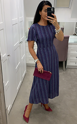 Seventy1-Printed-A-Line-Midi-Dress,-Blue