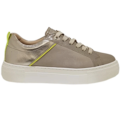 Murphys-Shoes-Bugatti---Mink-Shimmer-Slip-On-Trainer-with-a-Lime-Green-Trim