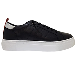 Murphys-Shoes-Bugatti---Black-Leather-Slip-On-Trainer-with-a-Silver-and-Red-Trim