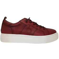 Murphys-Shoes-Bugatti---Red-Leather-Slip-On-Trainer-with-mock-Lace