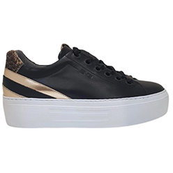 Murphys-Shoes-NeroGiardini---Black-Rose-Gold-Wedge-Trainer-with-Ribbon-Lace