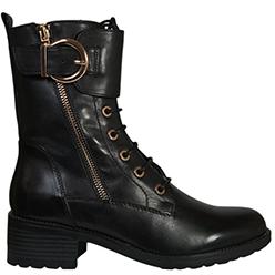 Murphys-Shoes---Regarde-de-Ciel---Black-Leather-Biker-Boots-with-a-Gold-Zip-and-Buckle