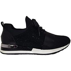 Murphys-Shoes-Remonte---Black-Fabric-Glitz-Slip-On-Trainer