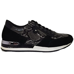 Murphys-Shoes-Remonte---Black-Leather-Suede-with-Black-and-White-Croc-Detailed-Laced-Trainers