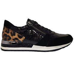 Murphys-Shoes-Remonte---Black-Suede-Trainer-with-Croc-Detail-and-Leopard-at-the-Heel.-Zip-for-Easy-Access