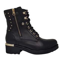 NeroGiardini---Italian-Black-&-Gold-Leather-Biker-Boot
