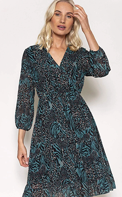 PALA-D'ORO-V-Neck-Frill-Dress-in-Animal-Print