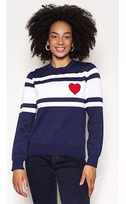 Carraig-Donn---KELLY-&-GRACE-WEEKEND-Heart-Stripe-Knit-in-Navy
