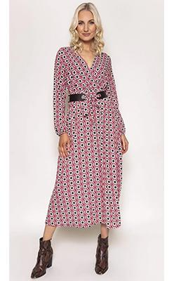 Carraig-Donn---PALA-D'ORO-Geometric-Belt-Dress-in-Wine-Print