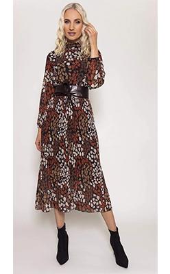 Carraig-Donn---PALA-D'ORO-High-Neck-Pleated-Dress-in-Brown