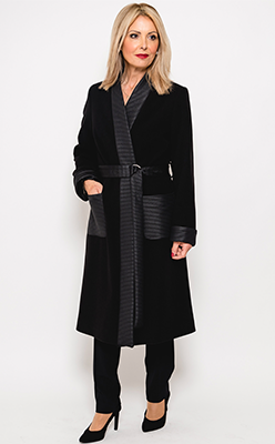 McElhinneys-Coats---Badoo-Ribbed-Trim-Felt-Coat,-Black