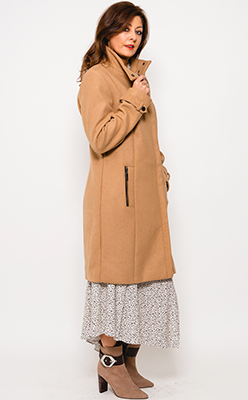 McElhinneys-Coats---Fransa-Wool-Blend-Zip-Front-Coat,-Camel