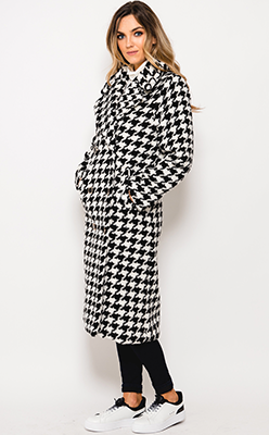 McElhinneys-Coats---Seveny1-Houndstooth-Print-Coat,-Black