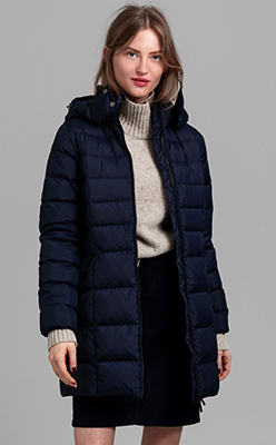 McElhinneys---Gant-Womens-Down-Filled-Quilted-Coat,-Navy