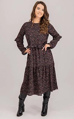 Born-Caroline-Multi-Polka-Dot-Dress-In-Black