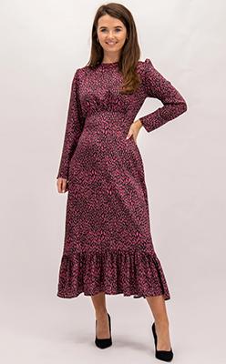 Born - Flounce-London-Pink-&-Black-Printed-Dress