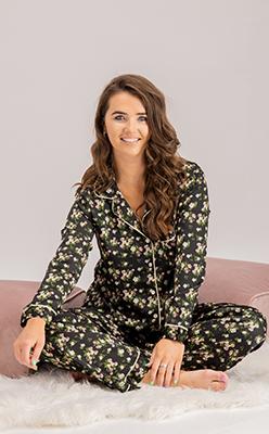 lilly-satin-floral-pyjama-set-in-black